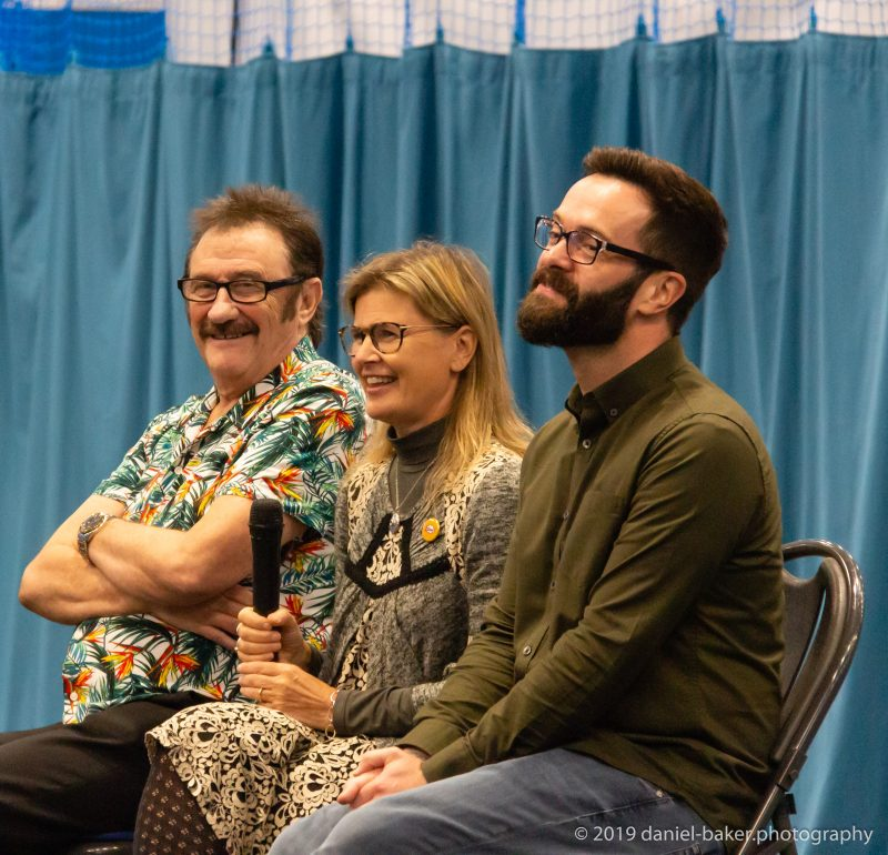 Paul Chuckle, James Mackenzie and Sophie Aldred talk at Geekmania Gloucester