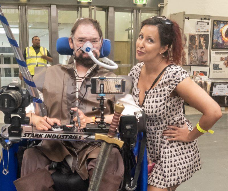 Daniel Baker in a knight (Galavant) cosplay with Tasha
