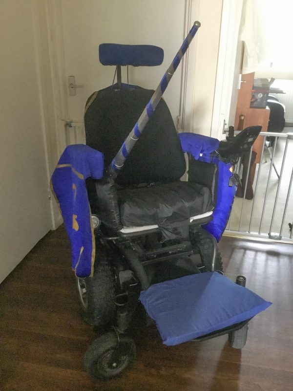 A wheelchair dressed ready for Galavant cosplay