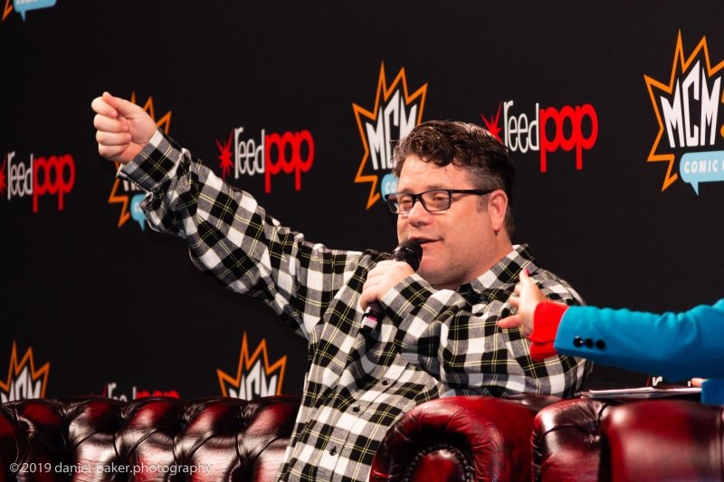 Sean Astin on stage at MCM Comiccon November 2019