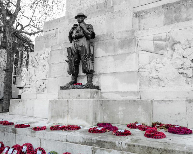 Remembrance Statue with poppys in London