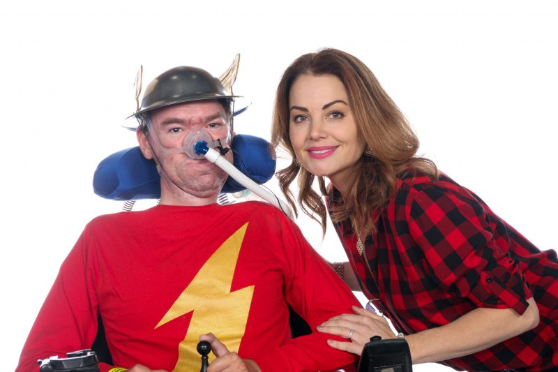 "Daniel Baker dressed as Jay Garrick ""The Flash"" with Erica Durance at Wales Comiccon 2019"