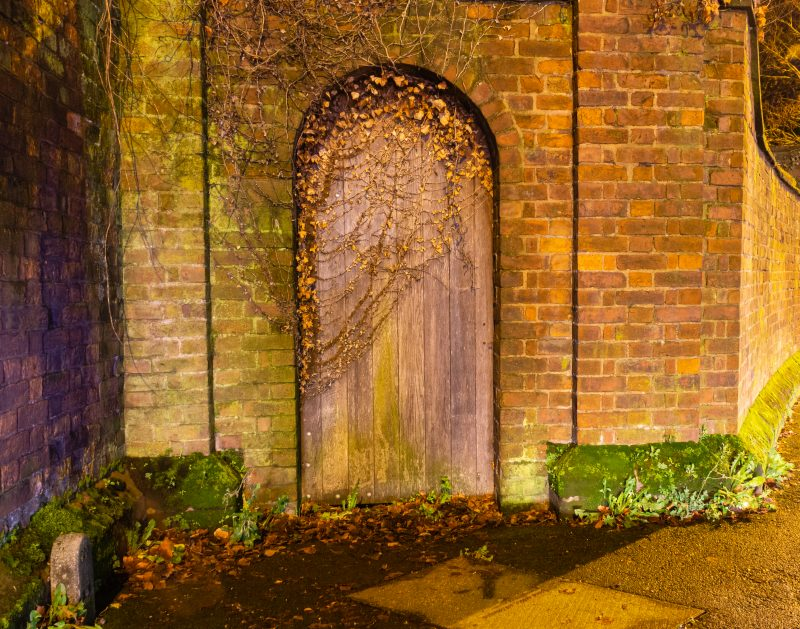 Gate with leaves growing over it at night in Worcester