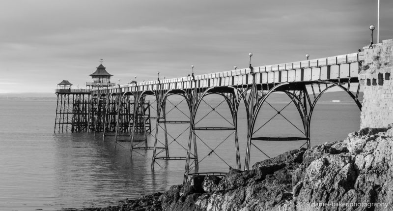 Clevedon Pier in black and white