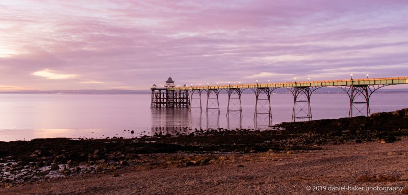 Clevedon Pier at sunset with a purple sky