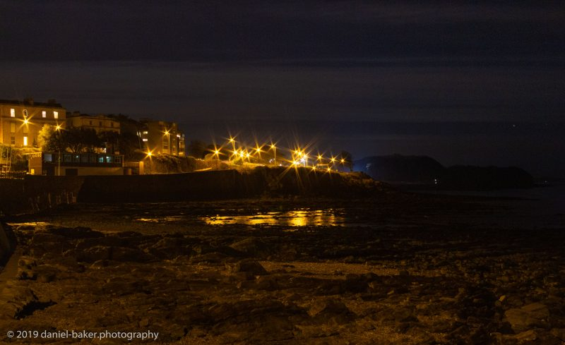 Clevedon at night from the beach