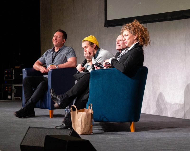 Arthur Darvill, Alex Kingston and David Bradley on stage at Wales comiccon 2019