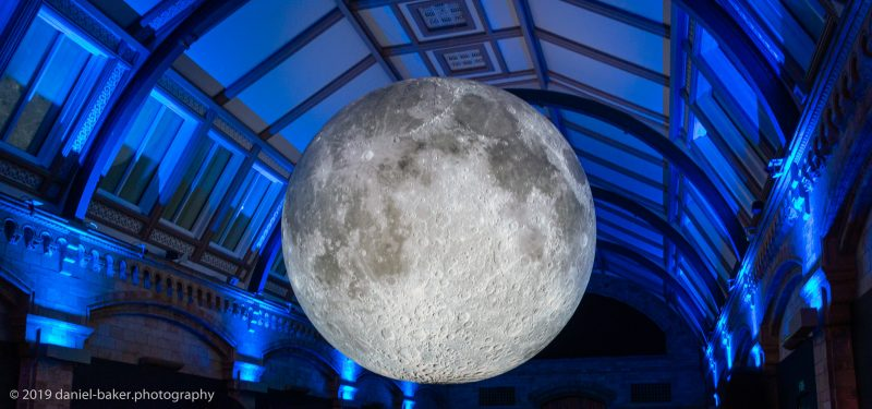 Glowing moon sculpture at the Natural History Museum London