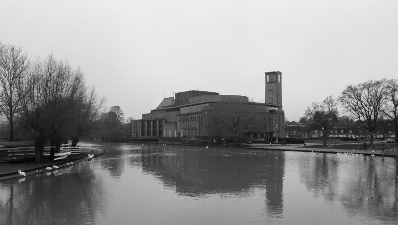 Misty image across the river Avon of royal Shakespeare company theatre