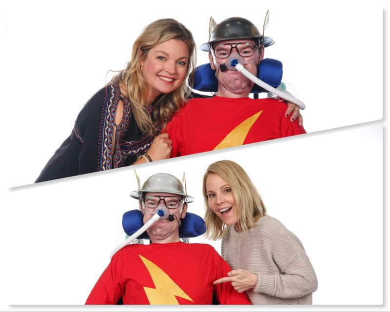 "Collage of Daniel Baker dressed as Jay Garrick ""The Flash"" with Clare Kramer and Emma Caulfield at Wales Comiccon 2019"