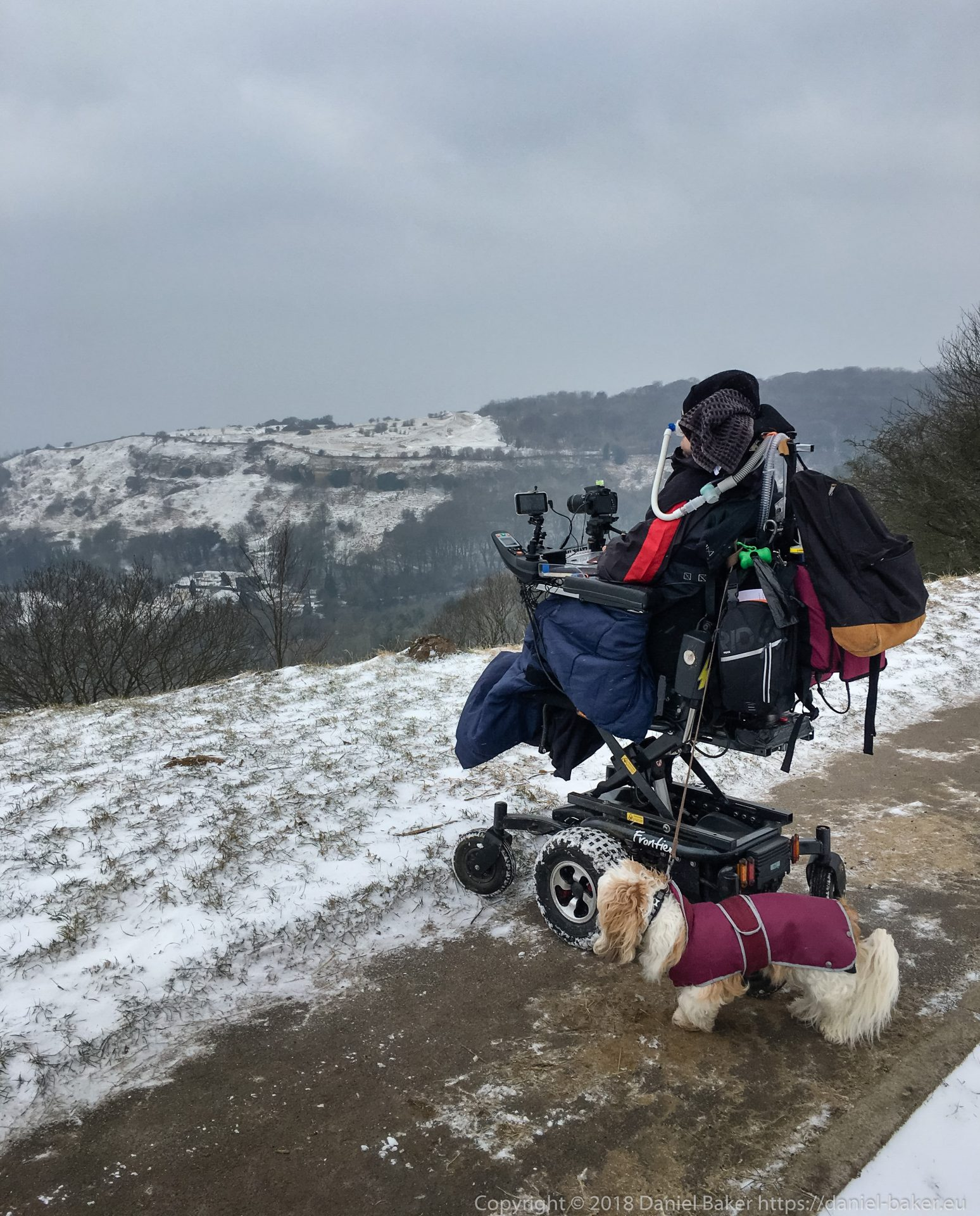 Daniel Baker with Mya his dog looking over a snowy Cheltenham from Birdlip hill