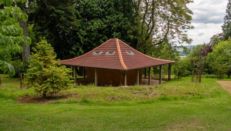 Chinese Pagoda style hut at Batsford Arboretum