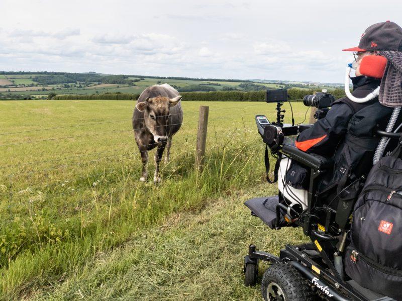 Daniel Baker in a field watching cows in a lush summer field