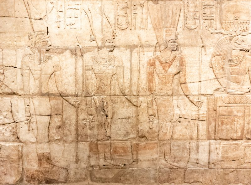Hieroglyphics on an ancient wall in the Ashmolean museum in Oxford