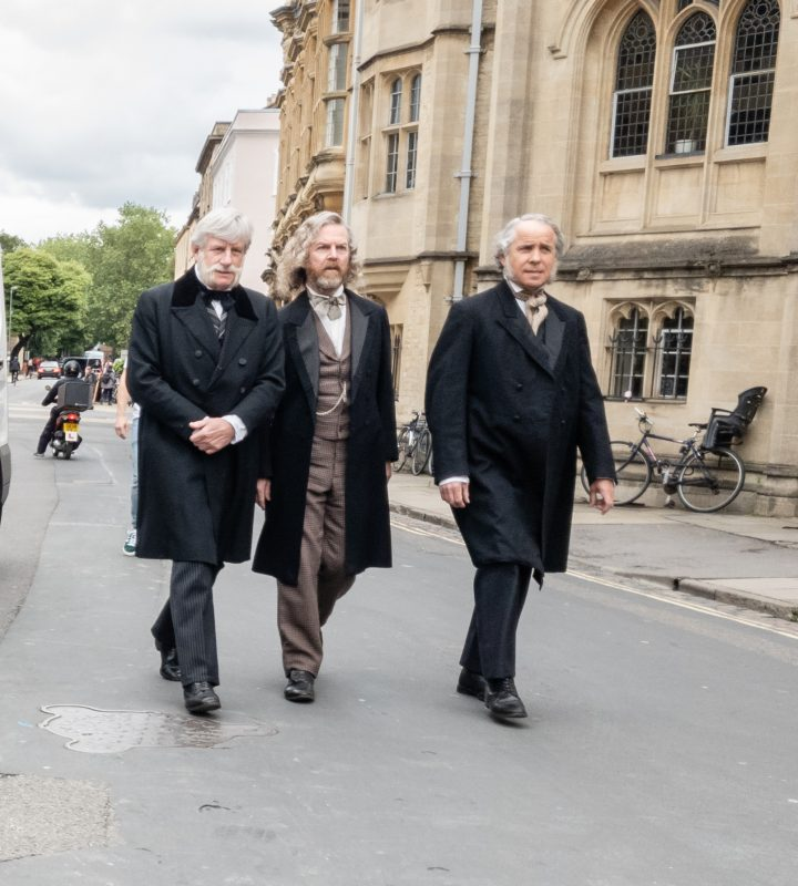 actors on a break from filming in Oxford