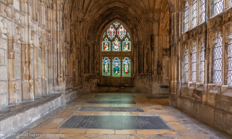 Stained glass windows inside Gloucester Cathedral
