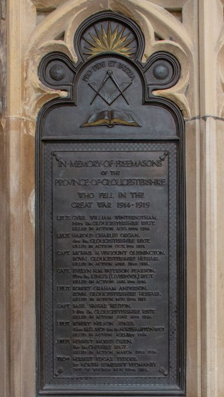 a plaque inside Gloucester Cathedral