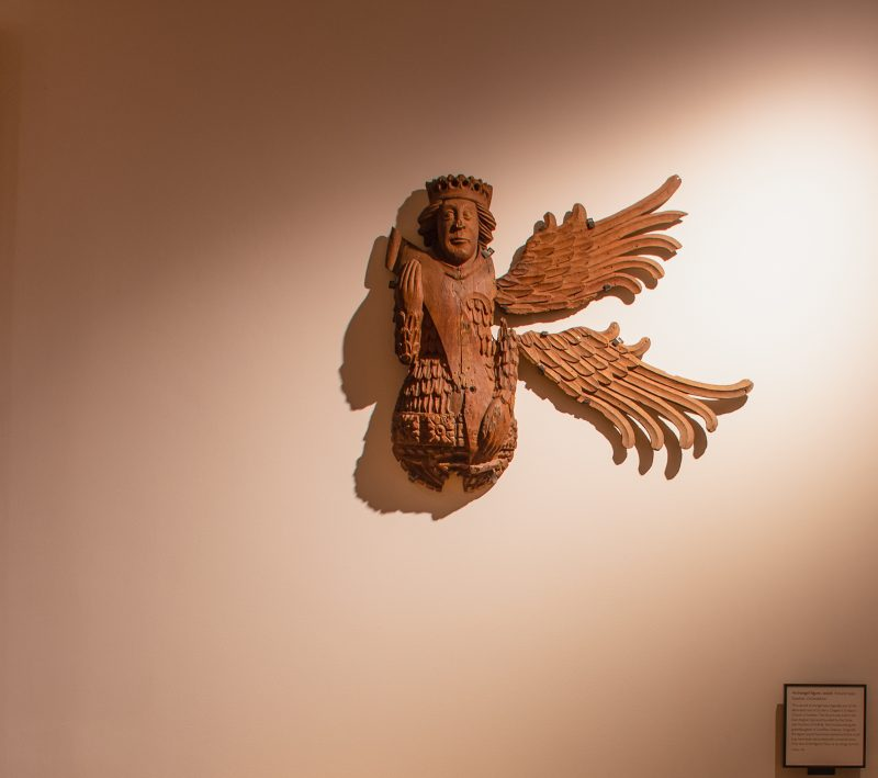 Winged exhibit in the Ashmolean museum in Oxford