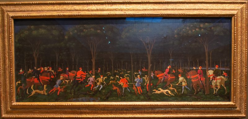 Painting of a hunt in the Ashmolean museum in Oxford