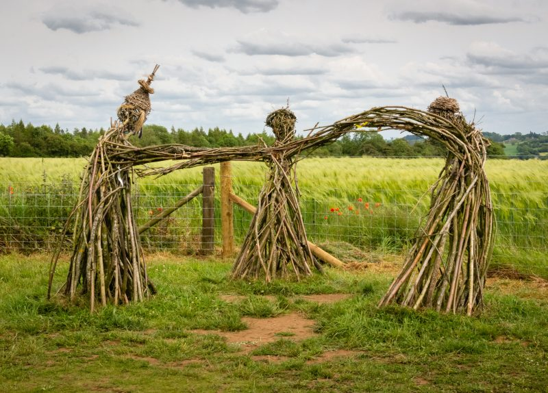 three wicker faires dancing in a lush summer field