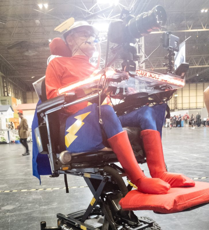 Low angle view of Daniel Baker in his Flash, Jay Garrick, cosplay at Collectormania 26