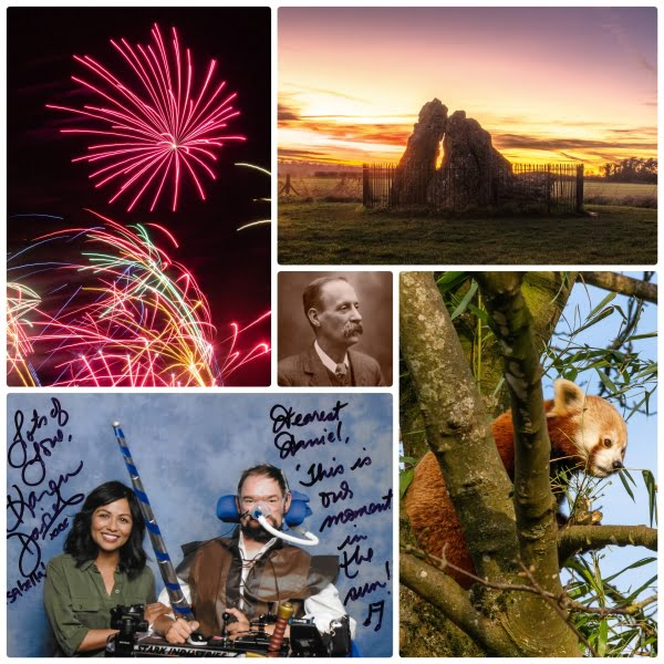 Collage of photos, fireworks, sunset behind some neolithic stones, an old photo of a man with a large moustache, Karen David with Daniel Baker dressed as a knight, a red panda in a tree