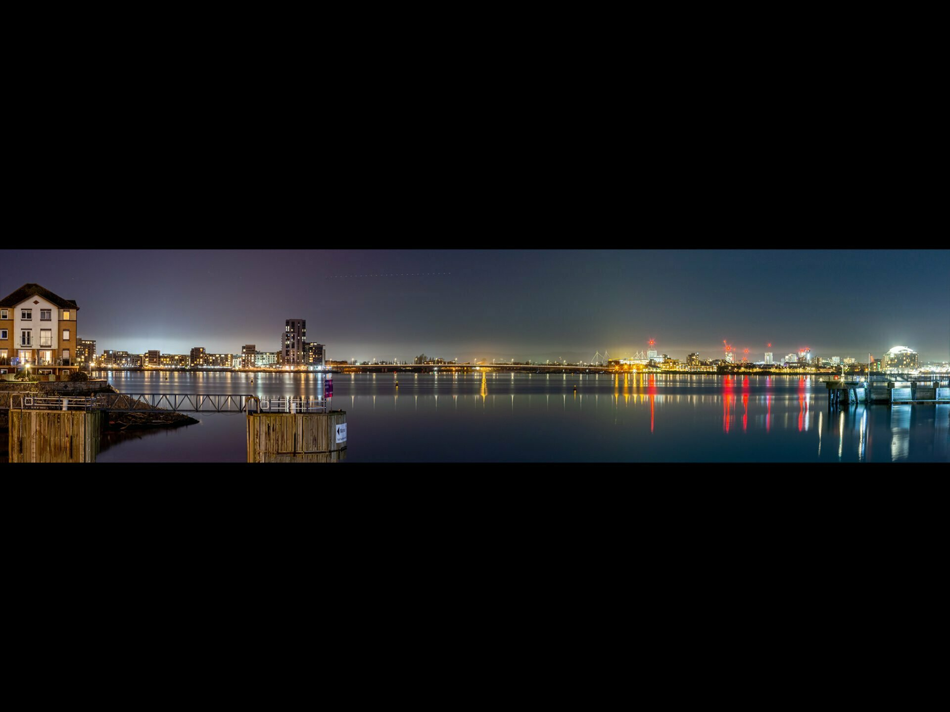 Nigh time view of Cardiff bay
