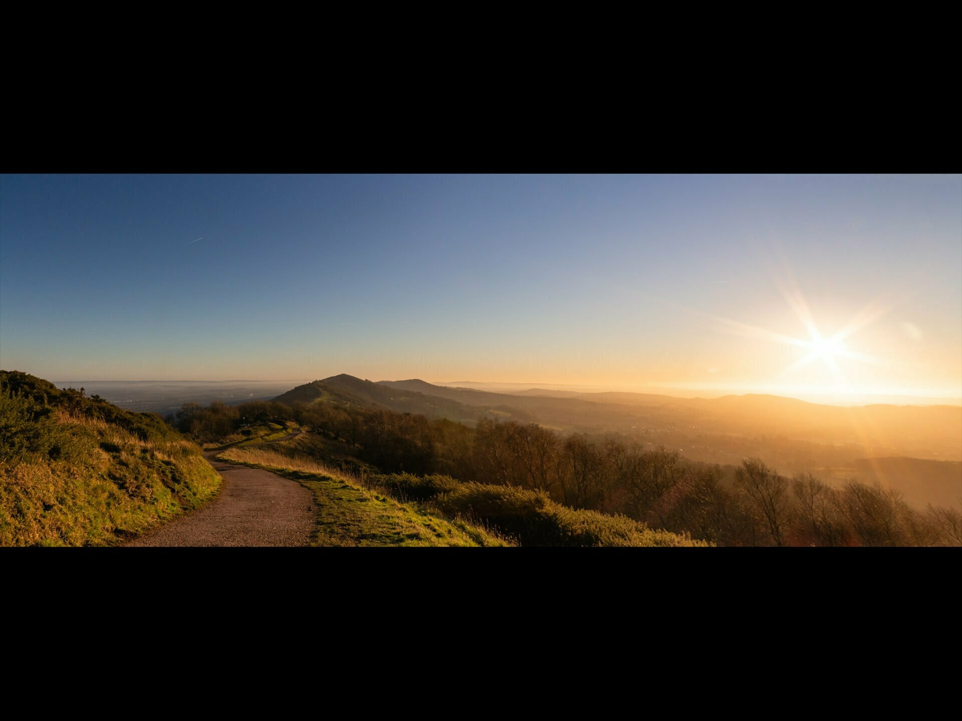 Malvern hills at sunset