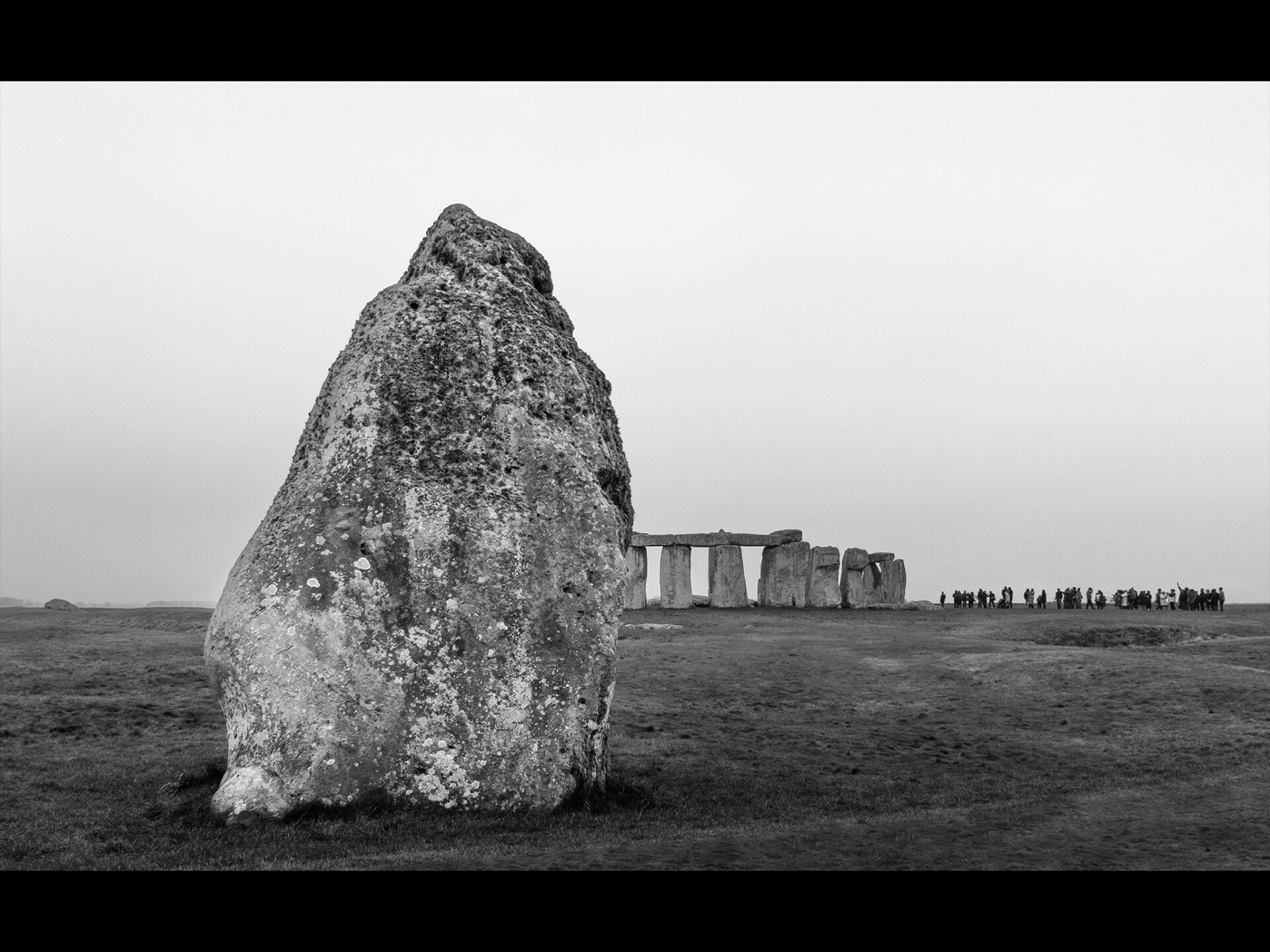 Black and While image of Stonehenge from a distance