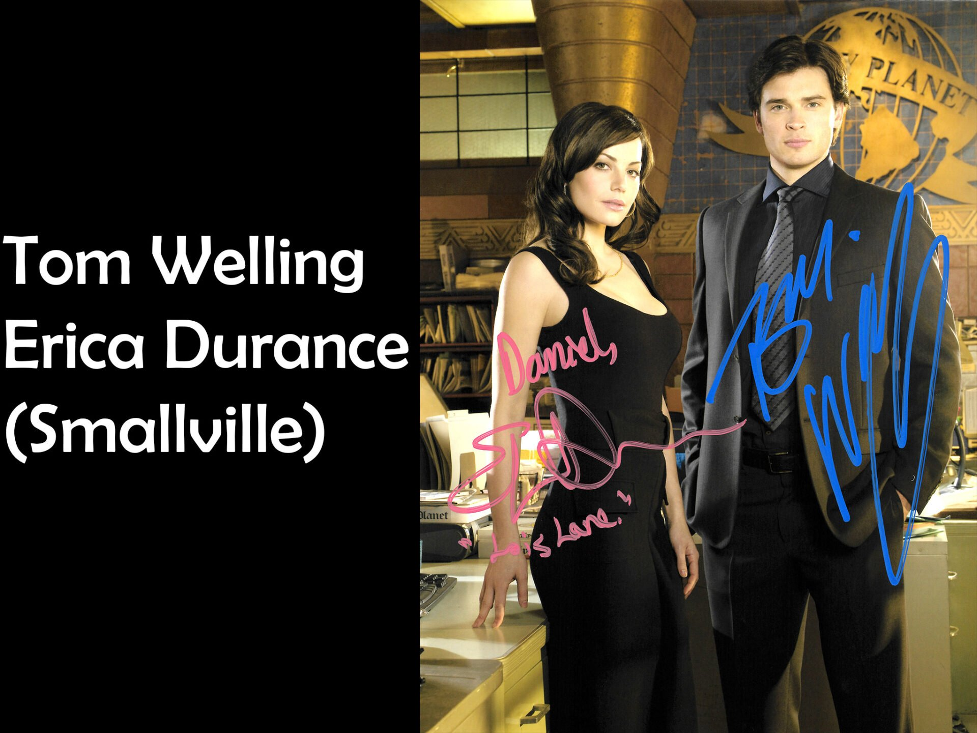 Signed photo of Tom Welling and Erica Durance