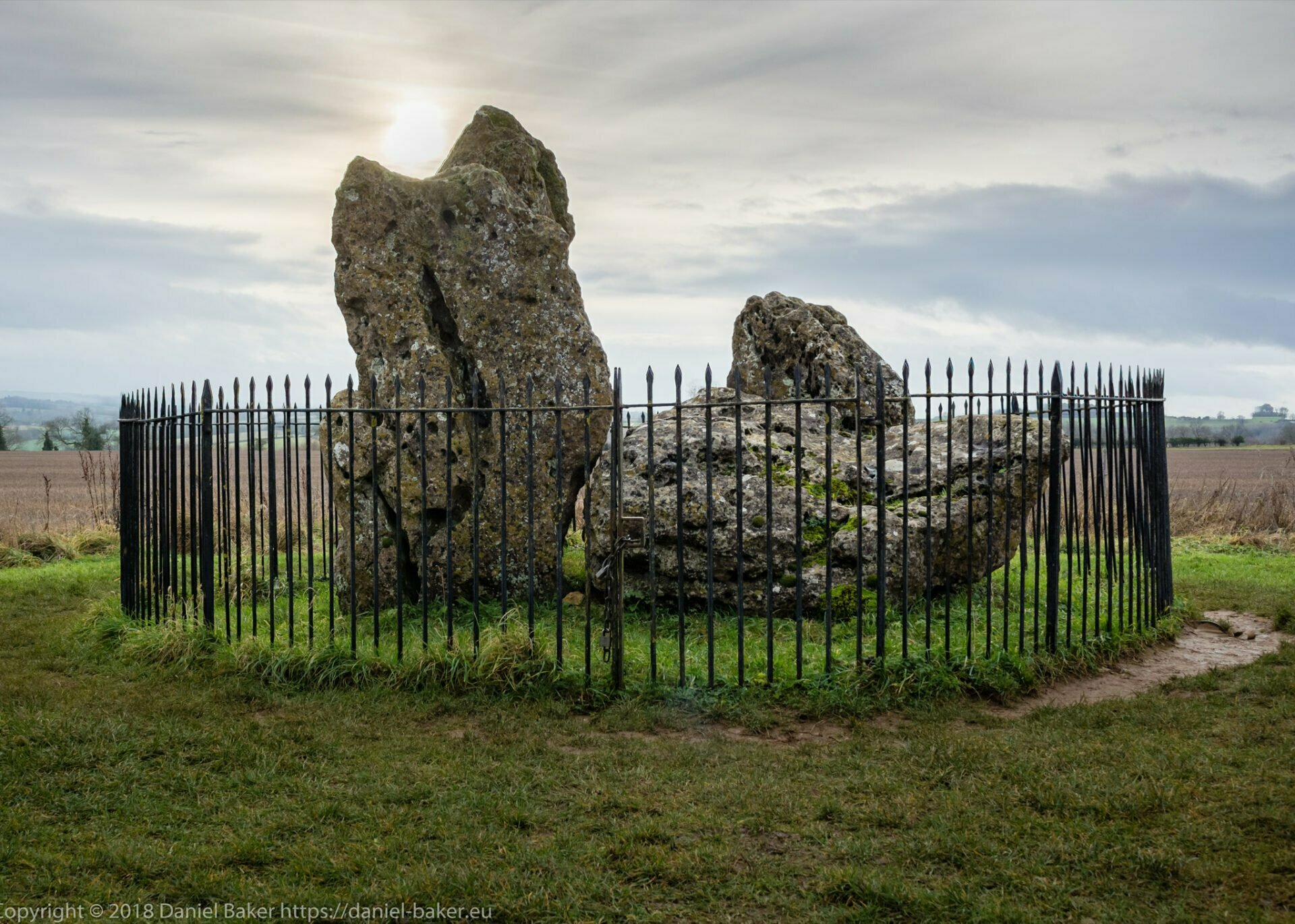 The Whispering Knights neolithic stones with the sun seemingly captured on top of one stone