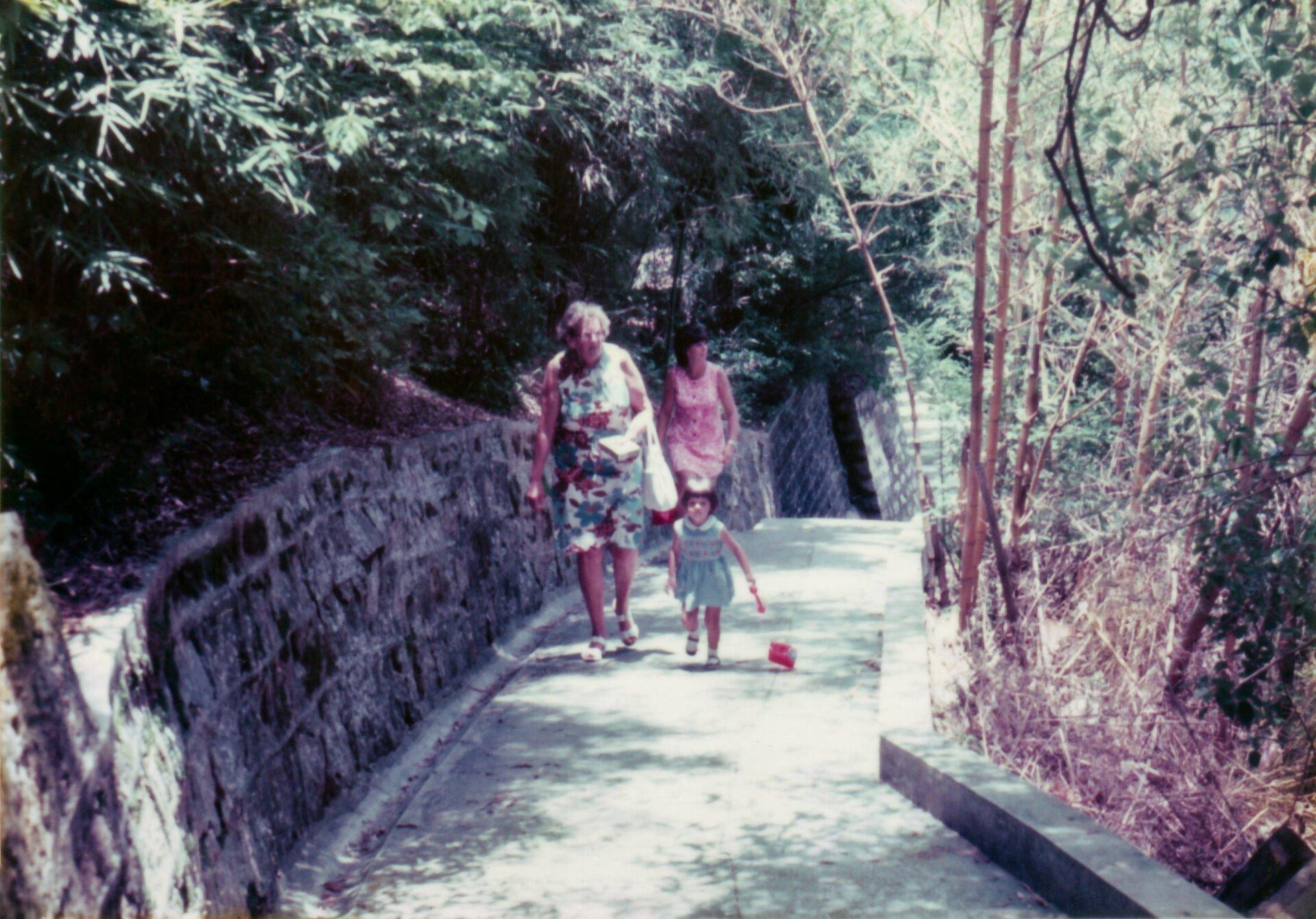 Hong Kong Olive Pat Olive walking to Shatin monastery