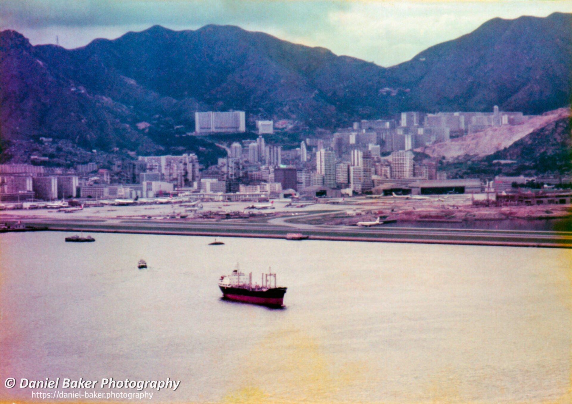 View of Kai Tack Airport from Tempo coort Hong Kong